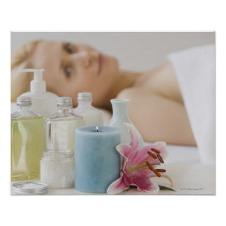 Woman laying on spa table print