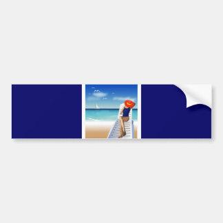 woman laying on the beach car bumper sticker