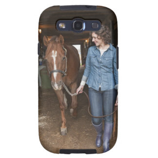 Woman leading horse samsung galaxy s3 cover