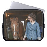 Woman leading horse laptop computer sleeve