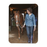 Woman leading horse magnet