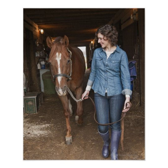 Woman leading horse poster