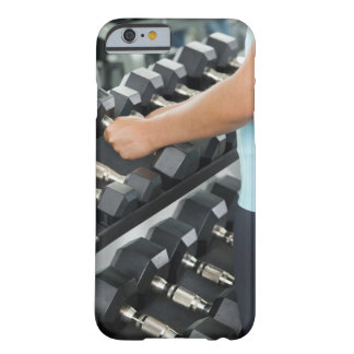 Woman lifting dumbbells 2 barely there iPhone 6 case