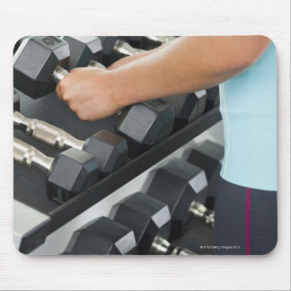 Woman lifting dumbbells 2 mouse pad