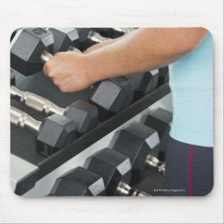 Woman lifting dumbbells 2 mouse pad