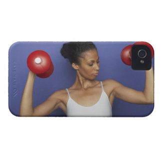 Woman lifting dumbbells 3 iPhone 4 cover