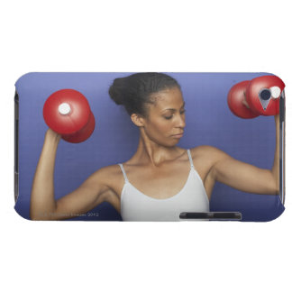 Woman lifting dumbbells 3 iPod touch case
