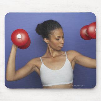 Woman lifting dumbbells 3 mouse pad