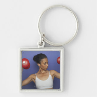 Woman lifting dumbbells 3 Silver-Colored square keychain
