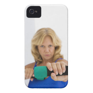 Woman lifting dumbbells iPhone 4 cover