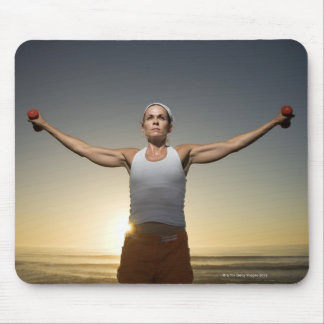 Woman lifting weights 4 mouse pad