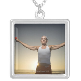 Woman lifting weights 4 silver plated necklace