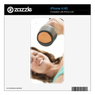 Woman lifting weights decal for iPhone 4S