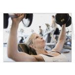 Woman Lifting Weights Greeting Card