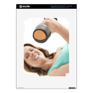 Woman lifting weights iPad 3 decals