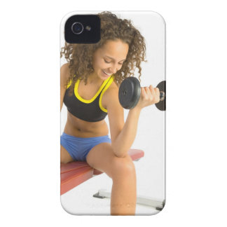 Woman lifting weights iPhone 4 cases