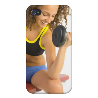 Woman lifting weights case for iPhone 4