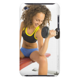 Woman lifting weights iPod Case-Mate case