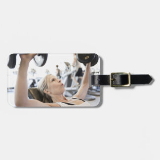 Woman Lifting Weights Luggage Tag