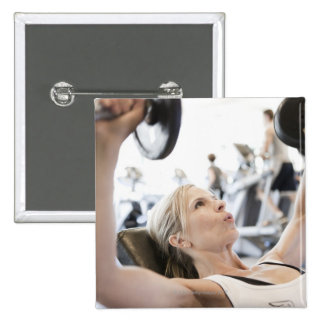 Woman Lifting Weights Pinback Button