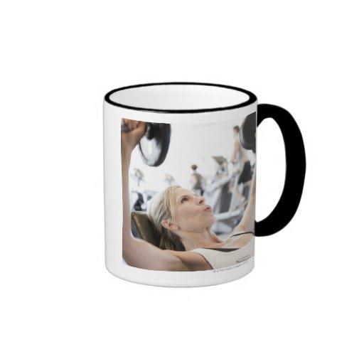 Woman Lifting Weights Ringer Coffee Mug
