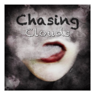Woman Lips Clouds Vape Grunge Premium Poster