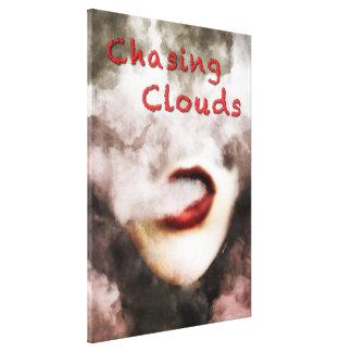 Woman Lips Clouds Vape Grunge Wrapped Canvas