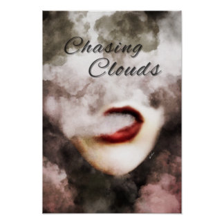 Woman Lips Clouds Vape Premium Poster
