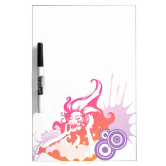Woman Listening to Music Dry-Erase Board