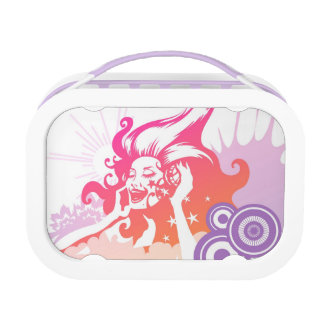 Woman Listening to Music Lunch Box