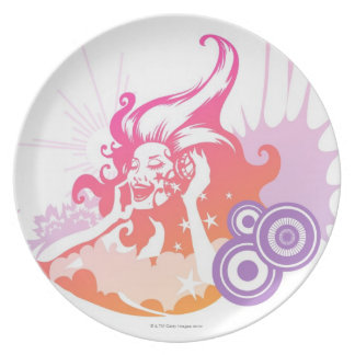 Woman Listening to Music Melamine Plate