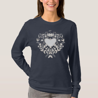 Woman long sleeve shirt  with floral  white heart