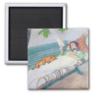 Woman Lying on a Bench, 1913 2 Inch Square Magnet