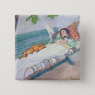 Woman Lying on a Bench, 1913 Pinback Button