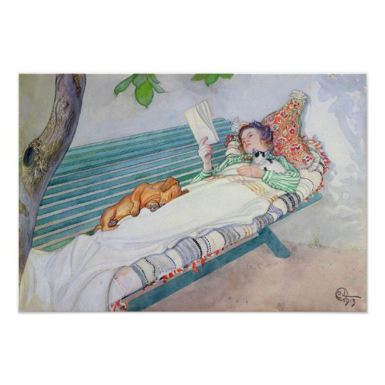 Woman Lying on a Bench, 1913 Poster