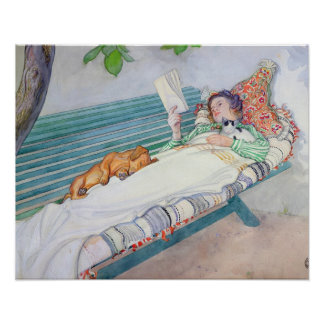 Woman Lying on a Bench, 1913 (w/c on paper) Poster