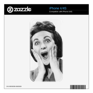 Woman Making Face iPhone 4 Decal