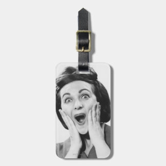 Woman Making Face Luggage Tag