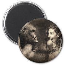 Woman Making Gorilla Laugh Magnet