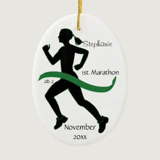 Woman Marathon Runner Ornament in Green