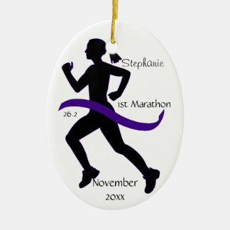 Woman Marathon Runner Ornament in Purple