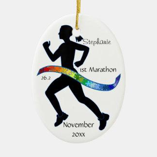 Woman Marathon Runner Puzzle Rainbow Ribbon Double-Sided Oval Ceramic Christmas Ornament