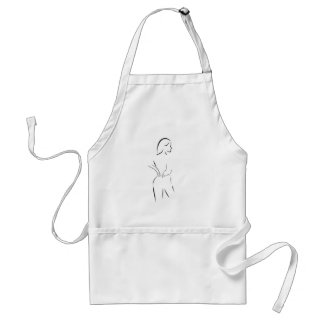 woman massaging her back adult apron