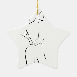 woman massaging her back ceramic ornament