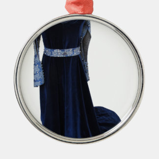 Woman medieval blue dress on dummy on white metal ornament