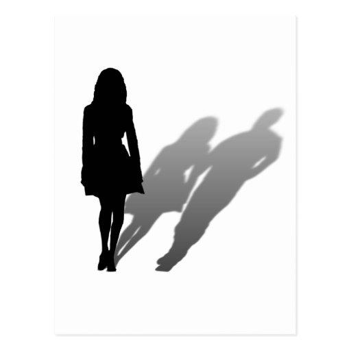 Woman Missing Man Silhouette Postcard