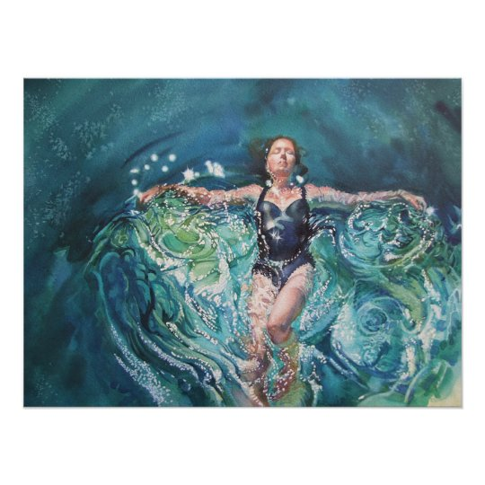 woman moving through water poster