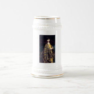Woman mystic gothic black gold fine art jaquard coffee mugs