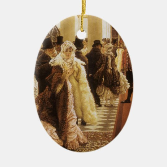 Woman of Fashion by Tissot, Vintage Victorian Art Ceramic Ornament