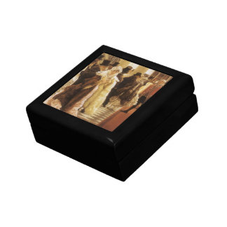 Woman of Fashion by Tissot, Vintage Victorian Art Jewelry Box